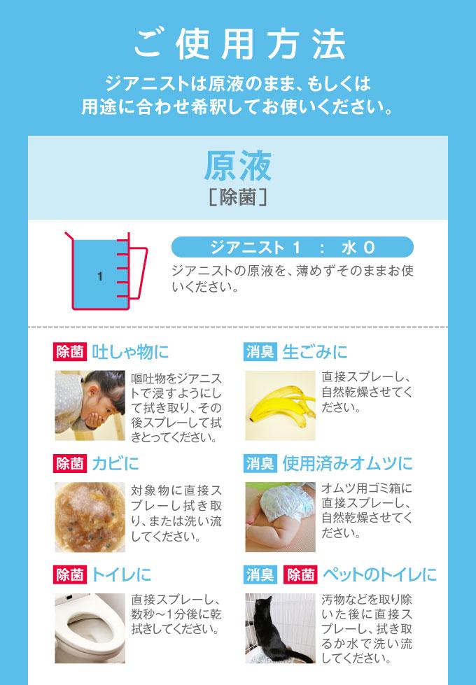 使用方法 ジアニストは原液のまま、もしくは用途に合わせ希釈してお使いください。 原液